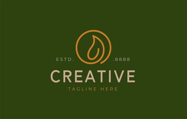 Modello di progettazione del logo minimalista con foglia circolare