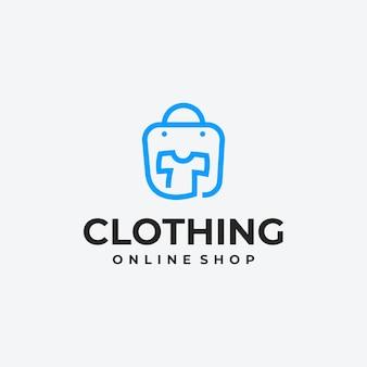 Idea di design del logo del negozio di abbigliamento minimalista, logo del negozio online