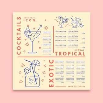 Modello di menu cocktail minimalista con illustrazioni disegnate