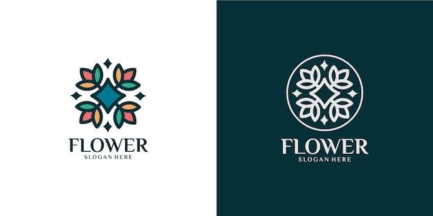 Set logo minimalista con fiori colorati