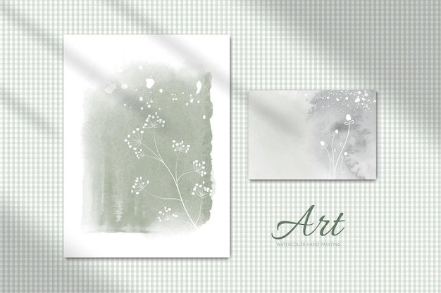 Insieme dell'illustrazione dipinto a mano dell'acquerello creativo minimalista. presentato su una parete con ombra passante perfetto per la progettazione di pareti
