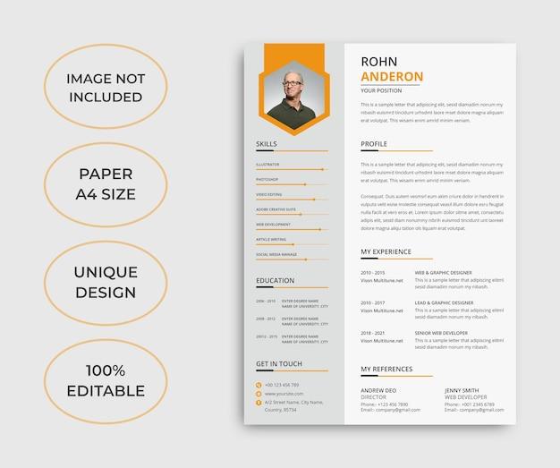 Design minimalista del modello di cv