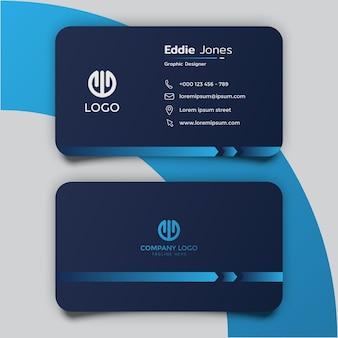 Design minimalista del modello di biglietto da visita blu scuro