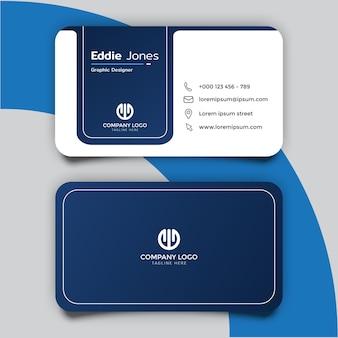Design minimalista del modello di biglietto da visita blu scuro e bianco
