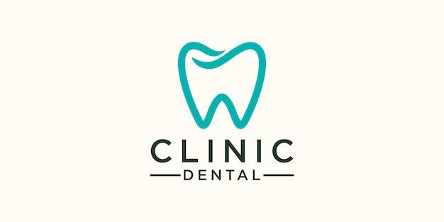 Modello minimalista per la cura dei denti logo design. icona dente astratto moderno.