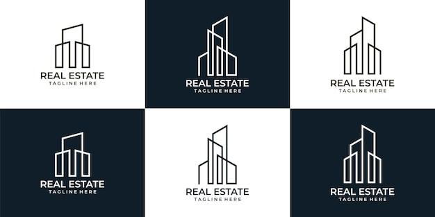 Collezione di design del logo del monogramma immobiliare dell'architettura minimalista elegante