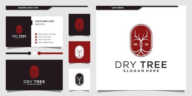 Design minimalista ed elegante del logo dell'albero secco e biglietto da visita vettore premium
