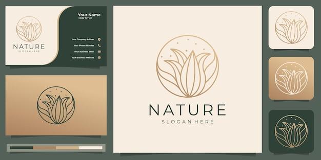 Rosa floreale elegante minimalista per cosmetici naturali di bellezzagoldluxurywellness yoga e spa logo e modello di biglietto da visita premium vector