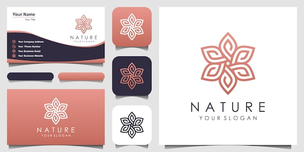 Minimalista elegante rosa floreale con logo stile art linea e design biglietto da visita. logo per bellezza, cosmetici, yoga e spa. logo e biglietti da visita