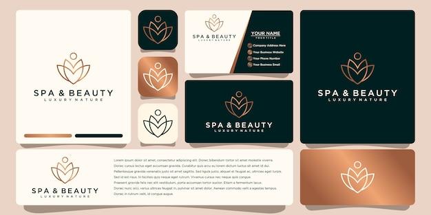 Bellezza minimalista elegante fiore di lusso, moda, cura della pelle, cosmetici con biglietto da visita.