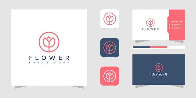 Minimalista elegante fiore rosa bellezza con stile art line. logo usa cosmetici, yoga e ispirazione per il logo spa.