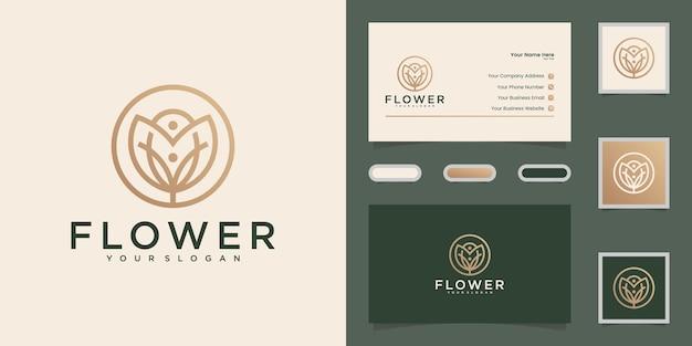Stile minimalista elegante fiore rosa linea arte design logo e biglietto da visita