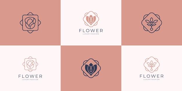 Modelli di logo di salone di bellezza di lusso minimalista elegante fiore rosa, moda, cura della pelle, cosmetici, yoga e spa