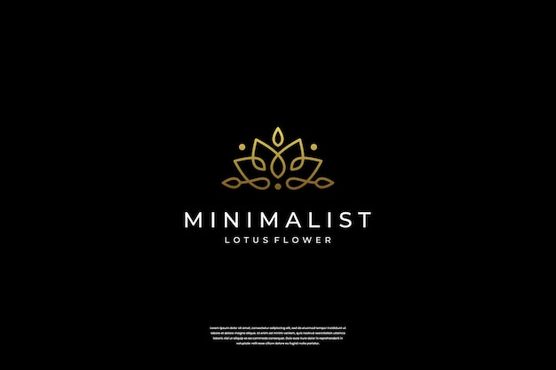 Design minimalista ed elegante del logo del fiore di loto con stile line art