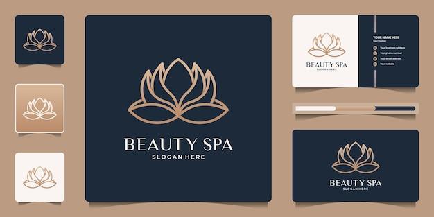 Modello di logo minimalista elegante fiore di loto. icona di line art per salone di bellezza, spa, yoga, meditazione, terapia, messaggio, meditazione.