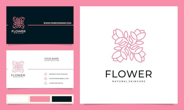 Ispirazione minimalista elegante e moderna con design del logo floreale, per saloni, spa, cura della pelle, boutique, con biglietti da visita