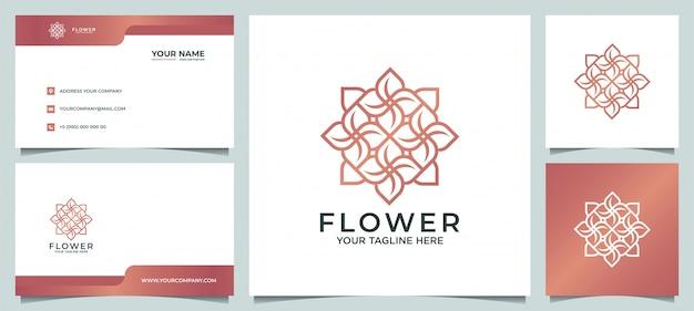 Ispirazione per il design del logo floreale moderno ed elegante minimalista, per saloni, spa, cura della pelle, boutique, con biglietti da visita