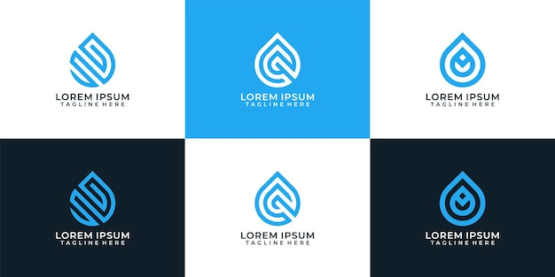 Elementi di design di vettore di logo liquido goccia d'acqua pura elegante minimalista onda