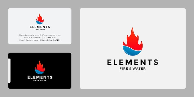 Elementi minimalisti, acqua e fuoco, logo design
