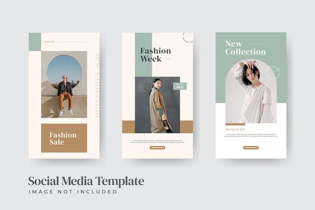 Modello di storie di instagram di vendita di moda minimalista Vettore Premium