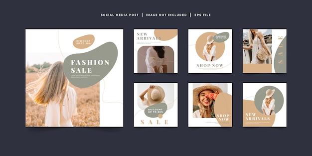 Modello di post sui social media di vendita di moda minimalista
