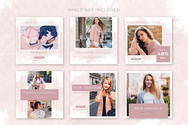 Collezioni di post sui social media di moda minimalista