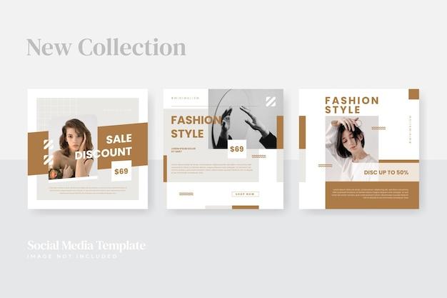 Modello di post sui social media di moda minimalista