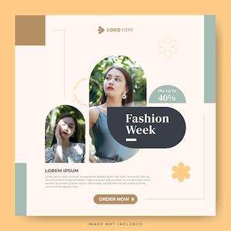Settimana della moda minimalista per modello di social media