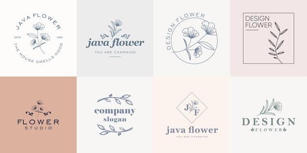 Collezione di loghi floreali minimalisti per negozi di fiori e aziende