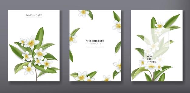 Design minimalista floreale tropicale alla moda di auguri o invito a nozze, set di poster, flyer, brochure, copertina, pubblicità per feste, fiori tropicali di plumeria in vettoriale