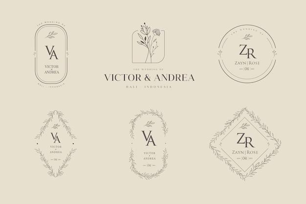 Insieme di modelli di logo matrimonio floreale minimalista