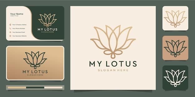 Fiore di loto minimalista. salone di bellezza di lusso, linea arte.
