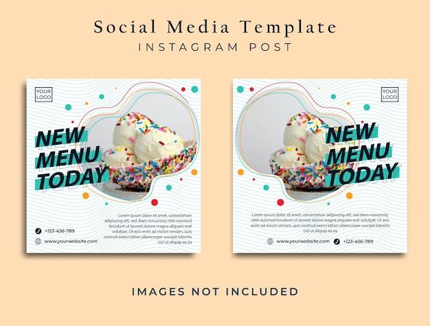 Volantino di cibo minimalista o banner sui social media vettore premium