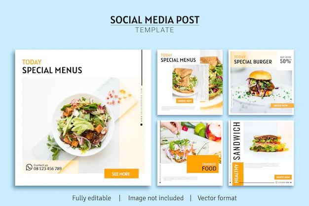 Modello di post di social media vendita cibo minimalista