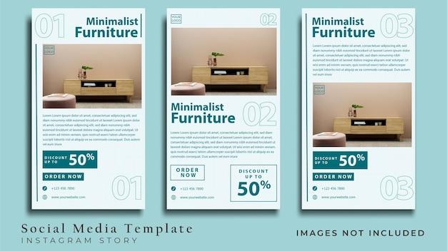Volantino per mobili minimalisti o banner per social media vettore premium