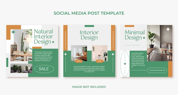 Modello di post di instagram di design d'interni di mobili minimalisti