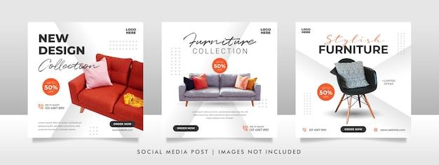 Banner di vendita di mobili minimalisti o modello di post sui social media