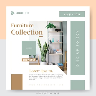 Vendita di mobili minimalisti post sui social media di instagram