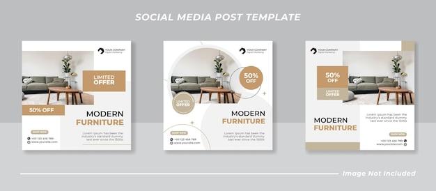 Social media mobili minimalisti e modello di post instagram