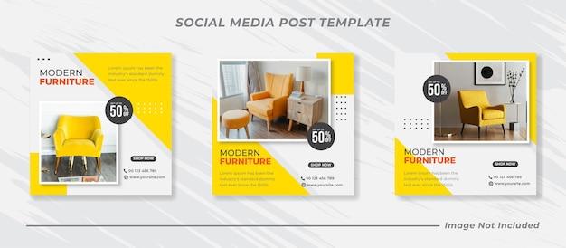 Collezione di modelli di post sui social media di mobili minimalisti