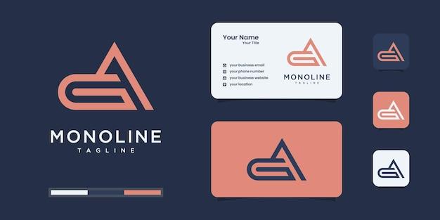Monogramma logo minimalista g e a o ga, alfabeto, lettera, ispirazione iniziale del design