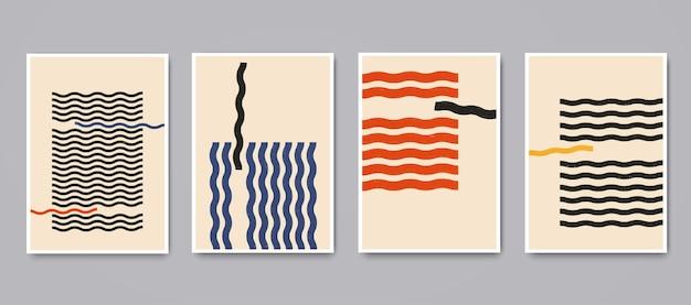 Poster geometrici minimalisti con elementi lineari ondulati dinamici. illustrazione di vettore di modelli creativi astratti alla moda contemporanea moderna.