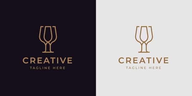 Modello di progettazione di logo di cena di vetro minimalista. illustrazione vettoriale di applausi bicchiere di vino.