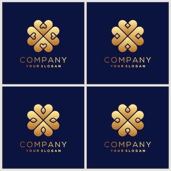 Ispirazione minimalista dorata elegante design del logo floreale