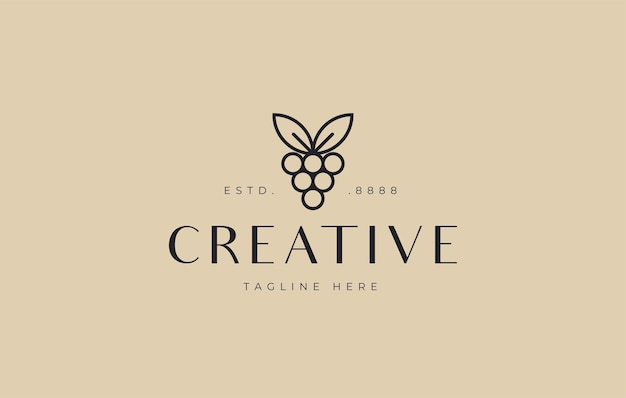 Modello minimalista dell'icona del design del logo dell'uva