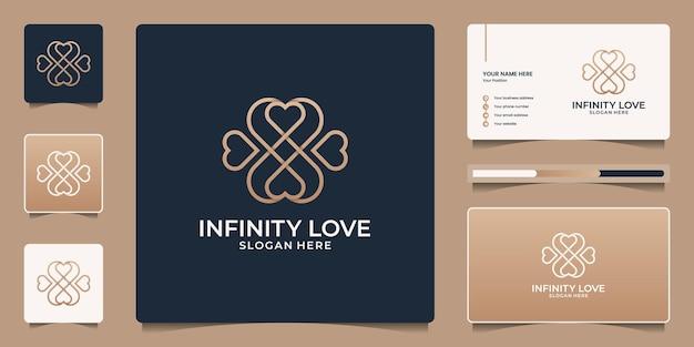 Design del logo del cuore minimalista con simbolo dell'infinito. salone di icone di bellezza, spa, yoga e modello di biglietto da visita.