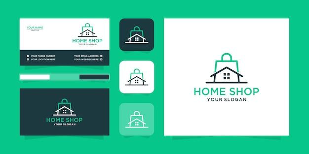 Logo del negozio di casa minimalista e biglietto da visita Vettore Premium