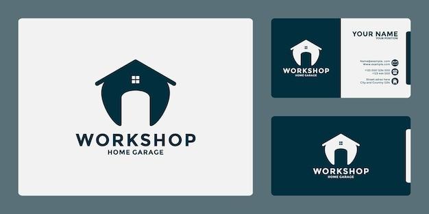 Design minimalista del logo dell'officina domestica