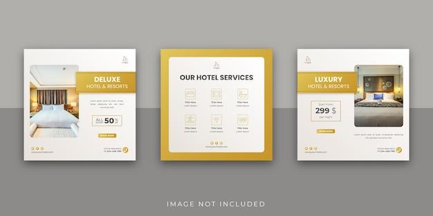 Modello minimalista per post instagram di hotel e resort sui social media