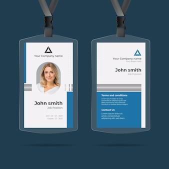 Modello di carte d'identità minimalista con foto